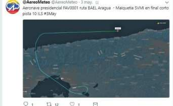 Tuit que produjo la detención de Pedro Jaimes Criollo en su cuenta de Twitter @AeroMeteo / Foto: Cortesía