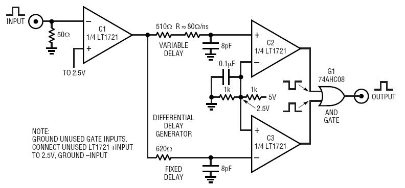 LT1721 Pulse Generator Has 0ns to 10ns Width, 520ps