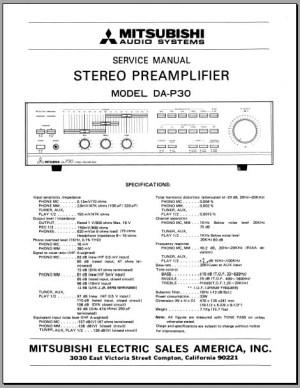 Mitsubishi DAP30 Service Manual, Analog Alley Manuals