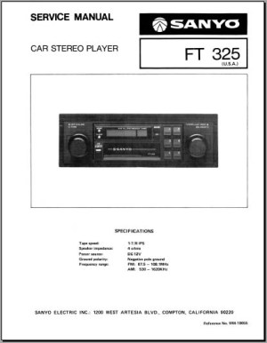 Sanyo FT 325 Service Manual, Analog Alley Manuals