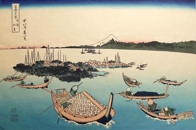 Ilustración de Hokusai, barcas, mar y monte Fuji.