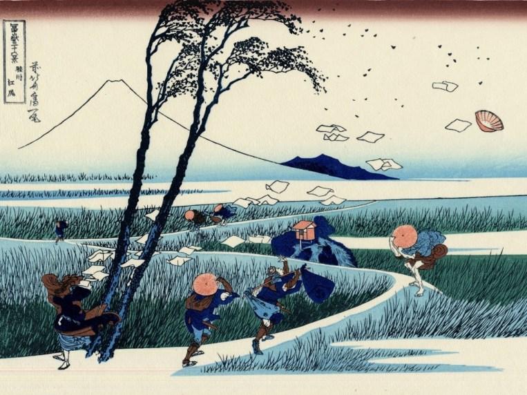 Ilustración de Hokusai, monte Fuji.