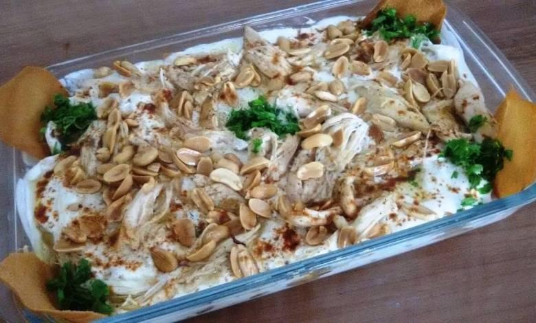طريقة عمل فتة الدجاج بالزبادي
