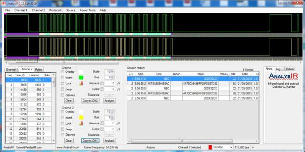 NEC captured in AnalysIR using soft PWM, RAW signal above HEX signal below