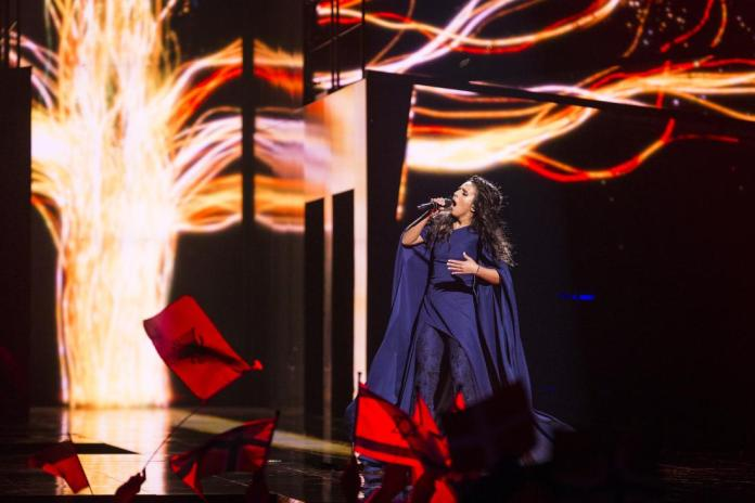"""STOCKHOLM, SWEDEN - MAY 12:  Jamala representing Ukraine performs the song """"1944"""" during the semifinals of the 2016 Eurovision Song Contest at Ericsson Globe Arena on May 12, 2016 in Stockholm, Sweden. (Photo by Michael Campanella/Getty Images)"""
