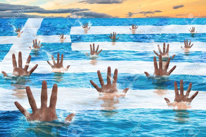 Η μαύρη τριακονταετία της Ελλάδας: Το γεγονός ότι, η κυβέρνηση δολοφόνησε την ύστατη ελπίδα των Ελλήνων, μαζί με την αριστερή ιδεολογία, φτάνει για να την κρίνουμε Greece rescue concept, men sinking in the sea reaching for help. Business concept of failure, debit,bankruptcy,financial emergency and default