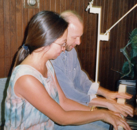 Robert Avalon and Anne Ku improvising piano duets in Houston