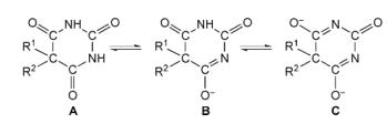 Dissociation des acides barbituriques substitués en C5: (A) acide libre non dissocié; (B) un mono-anion; (C) di-anion.