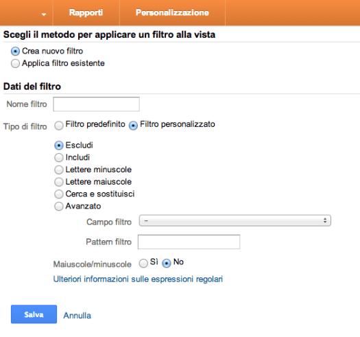 Google Analytics filtro personalizzato