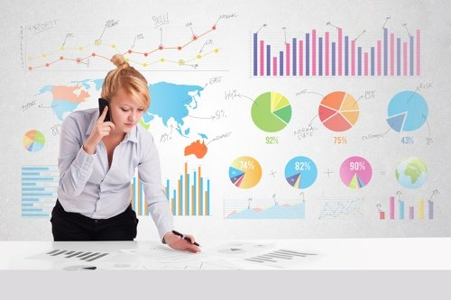 Business woman with colorful charts