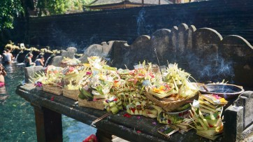Traditional offerings in the temple, but they are also displayed every morning around the house, shop or street