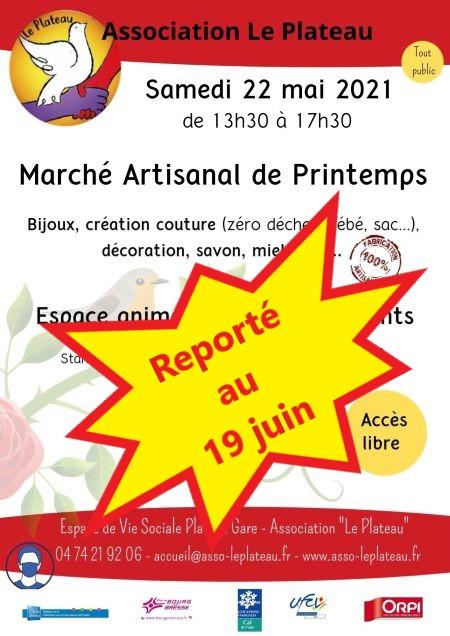 """Photo de l'affiche du marché artisanal de printemps avec la mention """"reporté au 19 juin"""""""