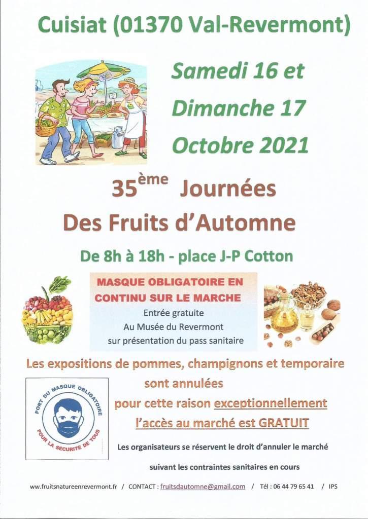 Affiche des 35èmes journées des Fruits d'Automne de Cuisiat, 16 et 17 Octobre 2021
