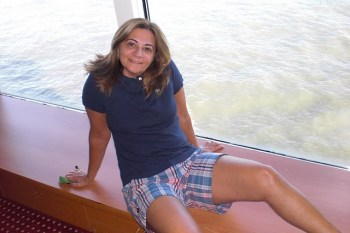 Eu na nossa cabine: Janelas de vidro, a visão total do mar!