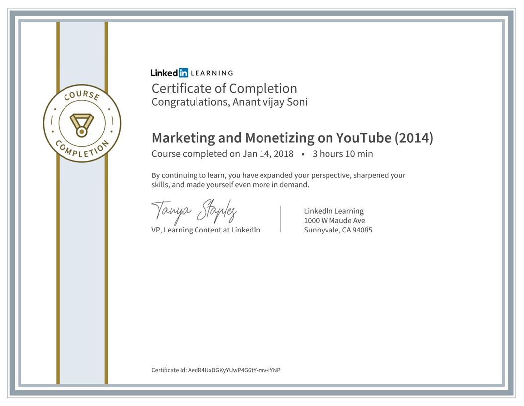 Marketing and Monetizing on YouTube - LinkedIn Certificate