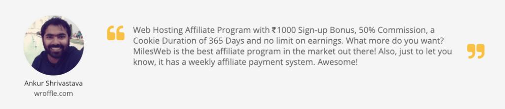 MilesWeb Affiliate Program Review 1