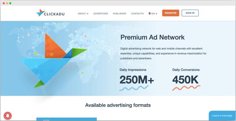 Clickadu Ad network - Best Google adsense alternative