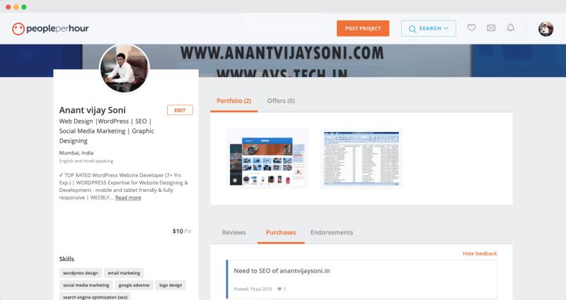 PeoplePerHour - Anant Vijay Soni Profile