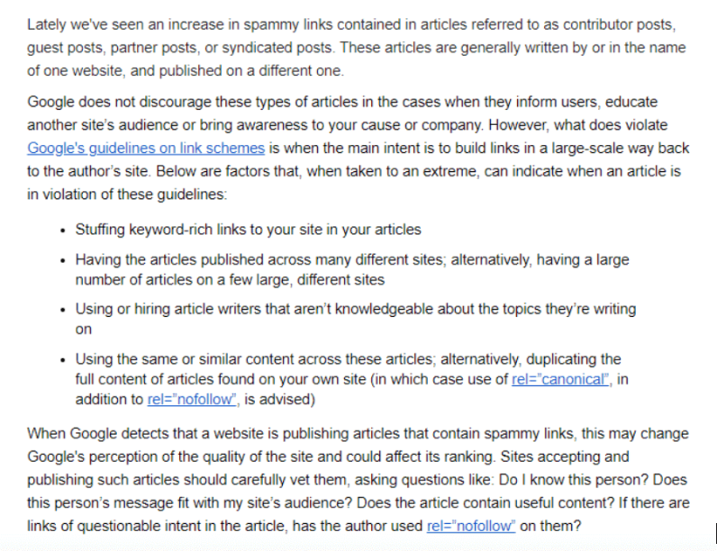 Google Guidelines for Guest Posting