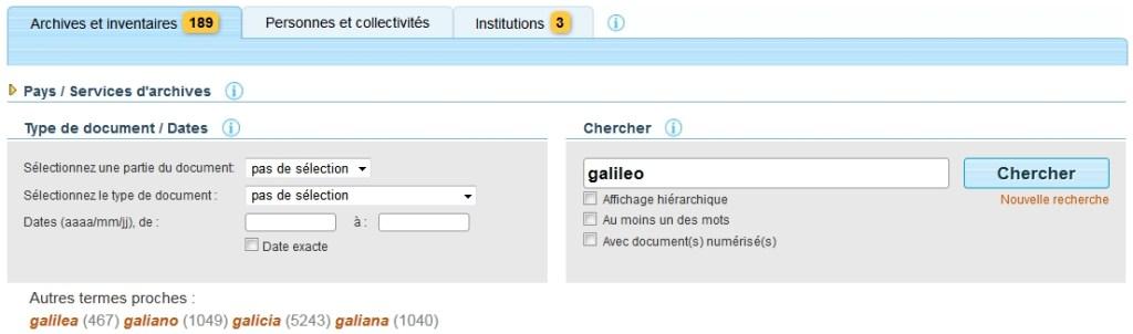 Formulaire de recherche avancée du portail européen des archives