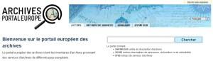 Formulaire de recherche simple sur la page d'accueil du portail européen des archives