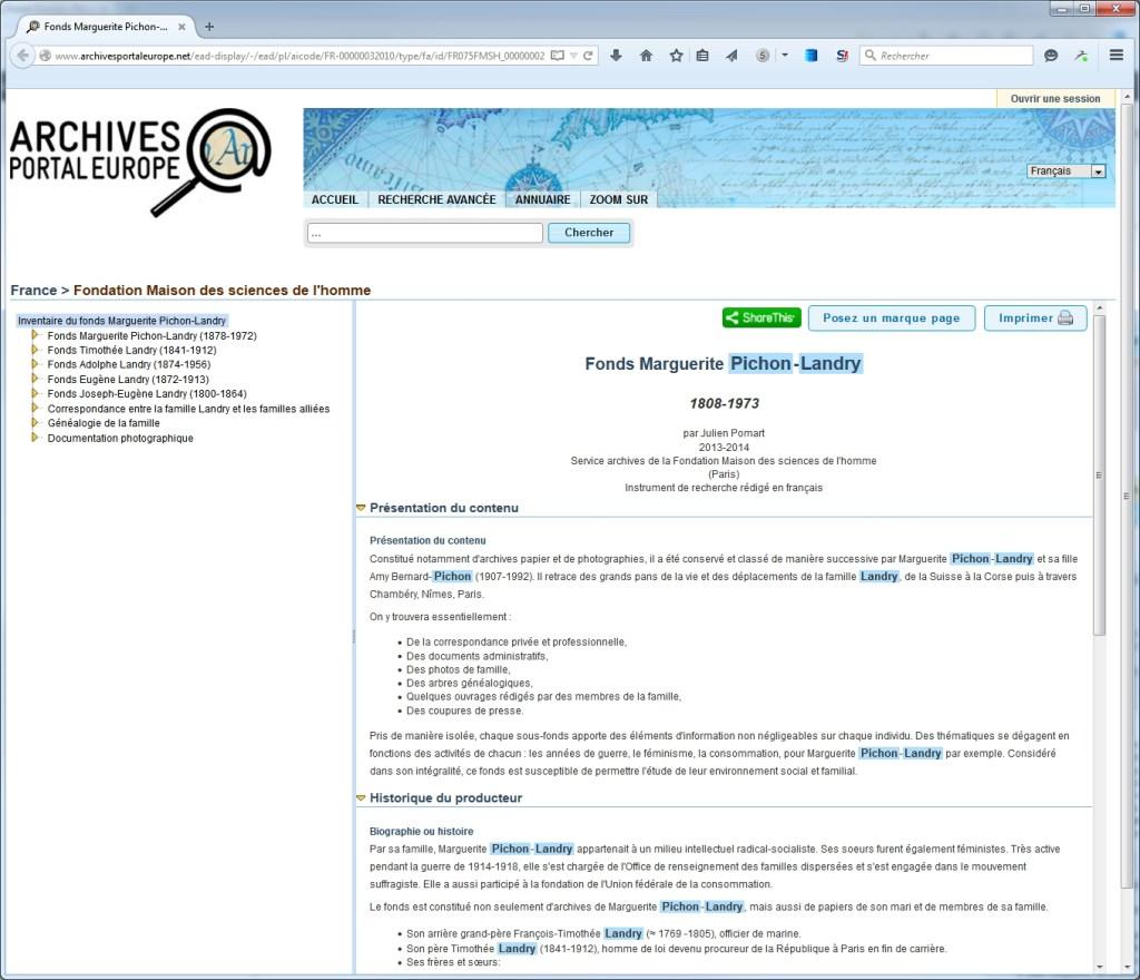 Affichage d'un inventaire dans le portail européen des archives