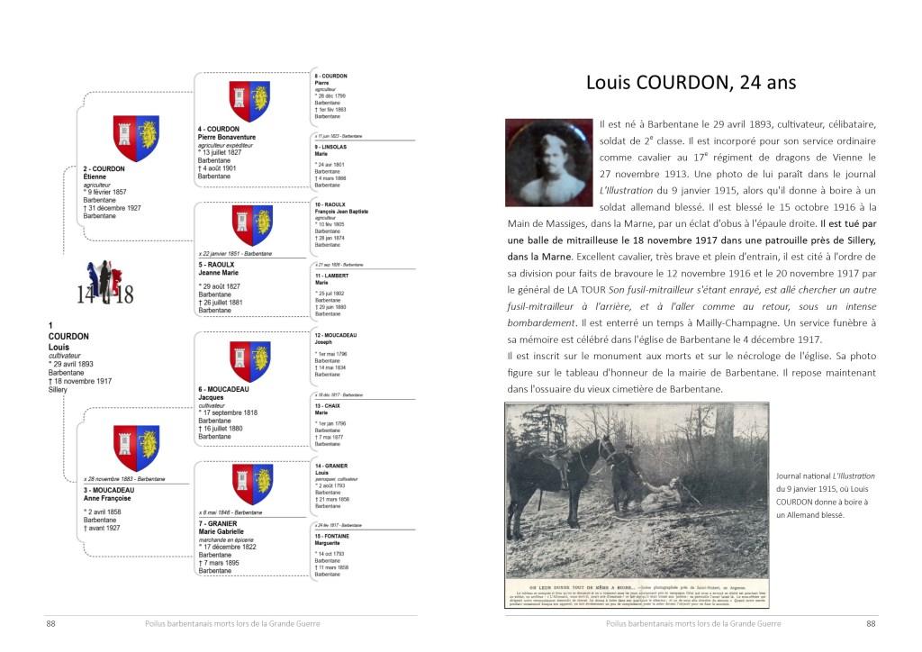 Double page du poilu barbentanais Louis Courdon