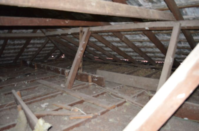 The attic, with rafters and support beams
