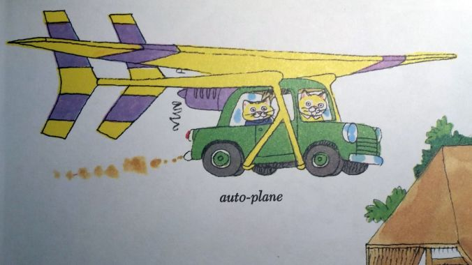 """Auto-Plane"" car with wings attached and cats driving"