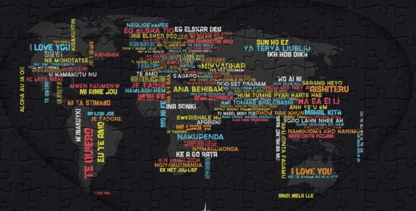 Love in different languages in world map