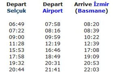Izmir train schedules