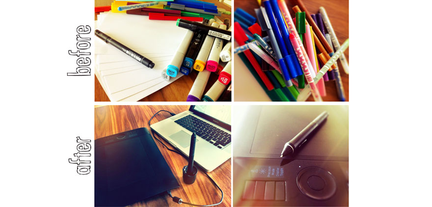 Drawing tools: pen and paper or graphic tablet