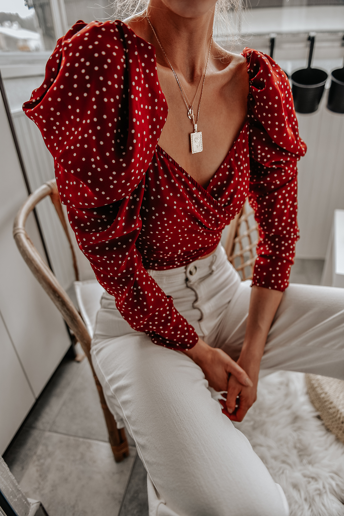 Knot Polka Dot Print Top