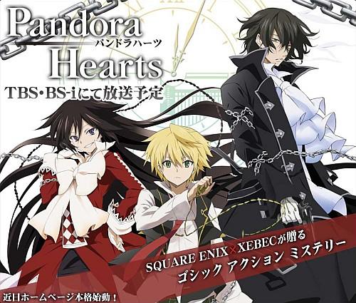 Drei Haupthelden von Pandora Hearts: Alic, Oz und Raven. Werbeplakat zur Anime-Serie, © 2009 Square Enix und Xebec.