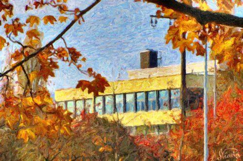 Einst ein Telefoto, nun ein kleines Impasto-Gemälde: Das Klettgau-Gymnasium im Herbst... (c) by Niarts