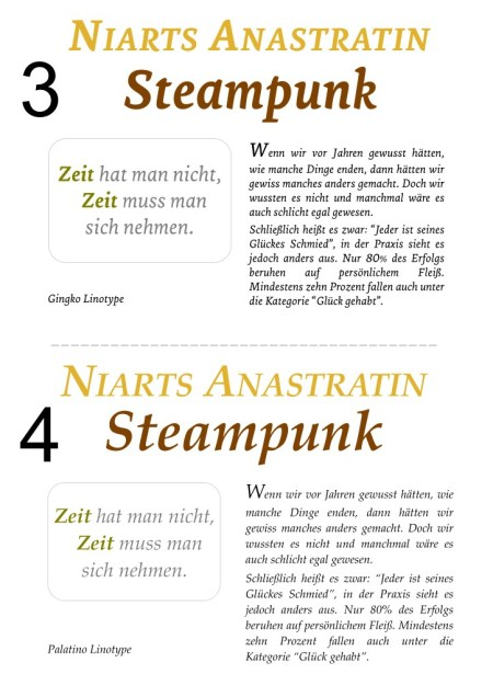 Die Schriftarten Gingko Linotype und Palatino Linotype im direkten Layoutvergleich.