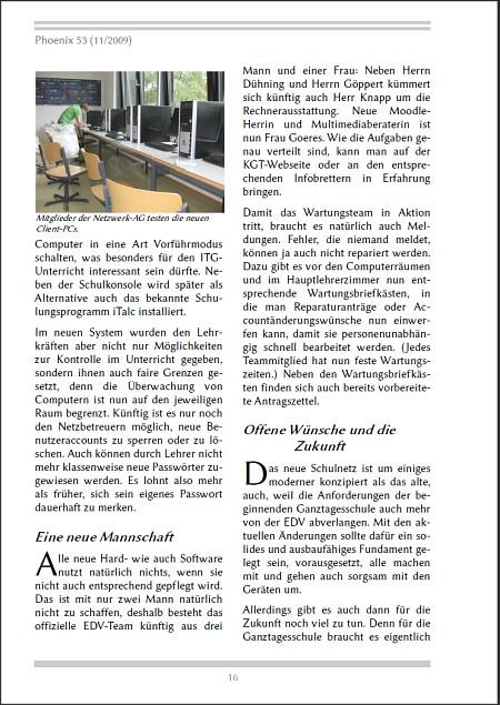 Eine Seite aus der Phoenix 53 in der Schriftart Linux Biolinum.