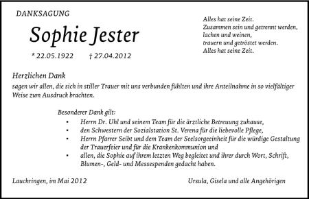 Danksagung für Sophie Jester in der Niarts-Version