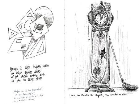 Noch ein Motiv zur Vergänglichkeit: Eine zerfallende Uhr mit Selbstberuhigungsspruch.