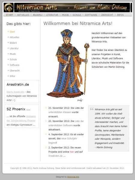 Die Niarts-Webseite im November 2012 - nun mit einem echten nitramischen Vizekönig als Torwächter.