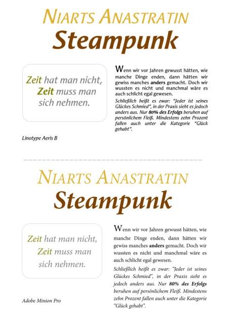 Schriftprobe für die Anastratin Steampunkausgabe in den Schriften Aeris B und Minion Pro