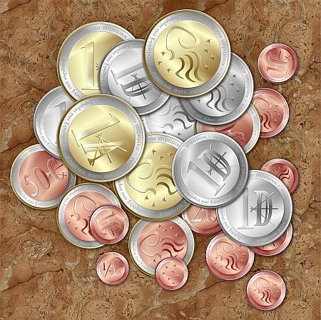 """Der Nitramische Silberdenar ist Hauptwährung der Neu-Nitramischen Konföderation und gliedert sich in """"Auris"""", """"Denar"""" und """"Kenton""""."""