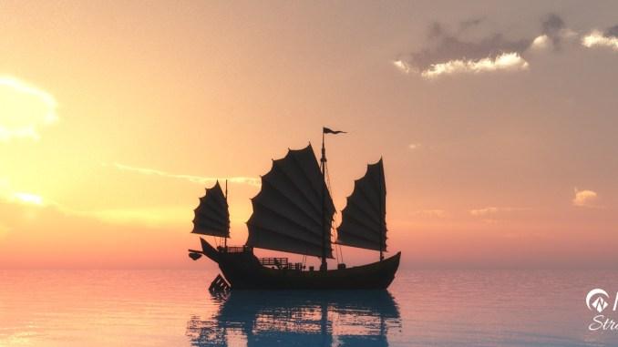 Ein Schiffchen segelt in den Niarts-Sonnenuntergang 2014...
