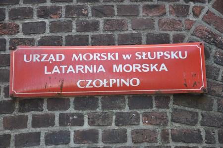 Hinweisschild am Leuchtturm von Czolpino (Foto: Martin Dühning)