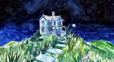 Die Villa Mondia bei Nacht