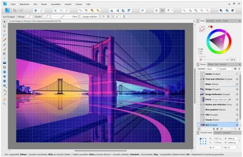 Die Zeichenfunktionen von Affinity Designer konnten sich bereits in der Version vor 1.8 sehen lassen: Mittels Ebenen im Raum können damit nicht nur 2D- sondern auch 3D-Grafiken konstruiert werden - hier eine perspektivische Brücke aus dem mitgelieferten Tutorial (Screenshot)
