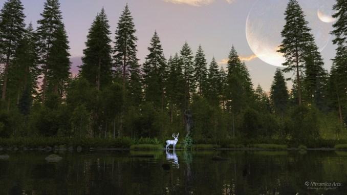 Ein weißer Hirsch an einem verzauberten See... (Grafik: Martin Dühning)