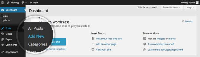 Publishing a post on WordPress 1