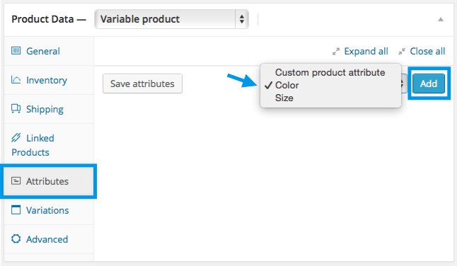 Adding Variable Product Step 2. Add attributes to use for variations In the Attributes section, add attributes before creating variations — use global attributes that are site wide or define custom ones specific to a product. Global attributes To use a global attribute: 1. Select one from the dropdown and Add. 2. Choose Select all to add all attributes to the variable product (if applicable). 3. Tick the Used for variations checkbox to tell WooCommerce it's for your variations.