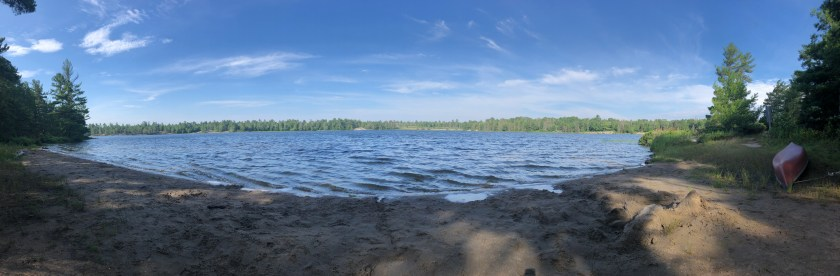 Panorama of Clear Lake Beach at Grundy Provincial Park